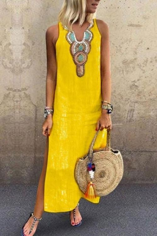 Sleeveless V-neck Tunic Dress