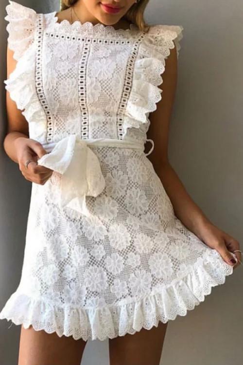 Sashes Lace Floral Wrap Dress
