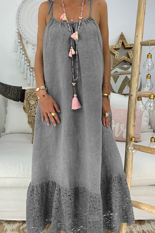Solid Knot Strap Sleeveless Maxi Dress