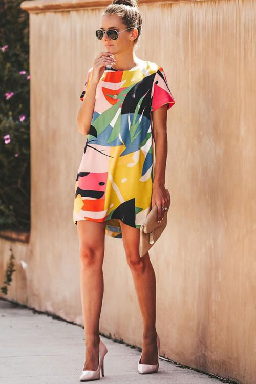 Digital Print Zip Back Short Dress