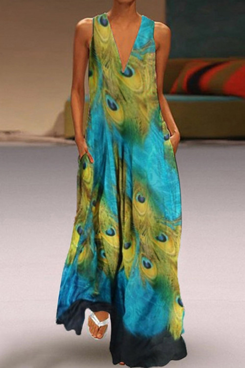 Boho Print V-neck Tunic Dress