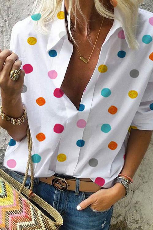 Collar Polka Dot Blouse