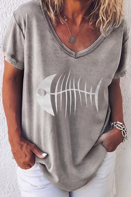 Fish Print Round Neck T-shirt