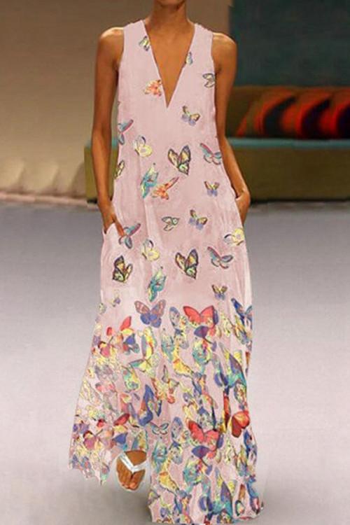 Butterfly Print Boho V-neck Maxi Dress