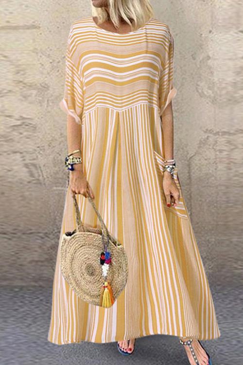 Pocket Scoop Striped Tunic Dress