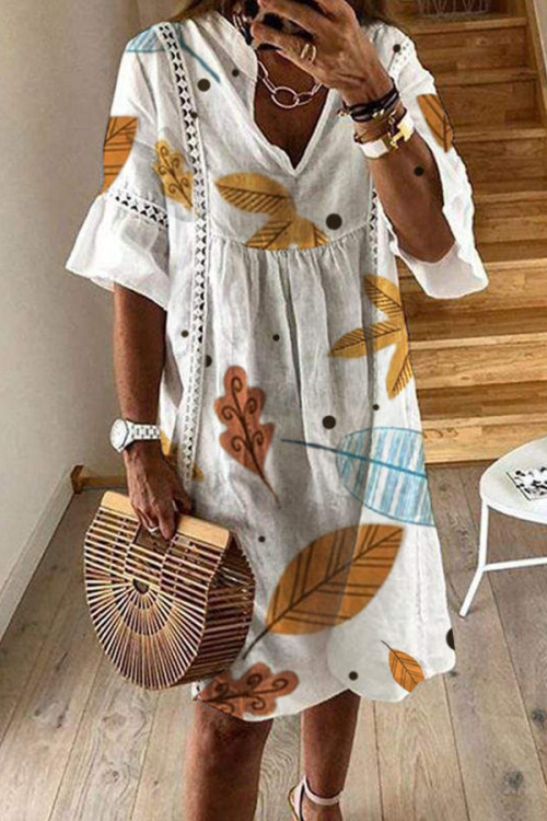 Print Lace V-neck Half Sleeves Dress