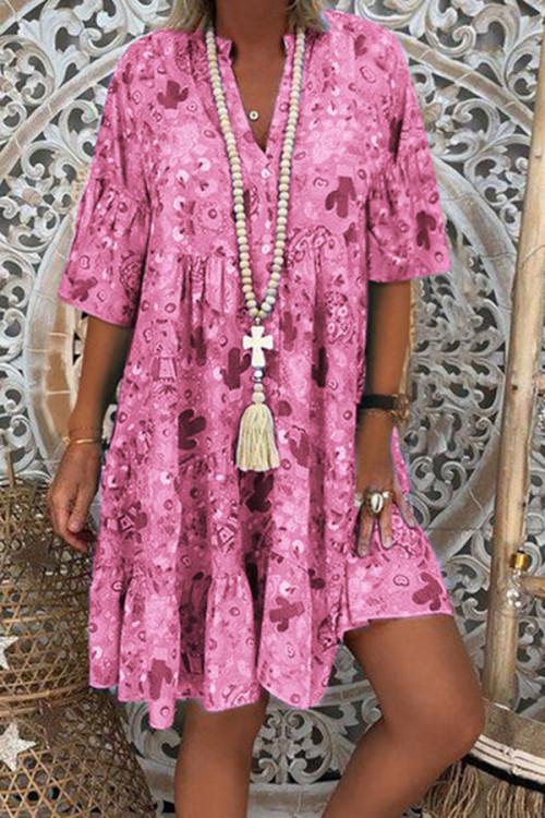 Print V-neck Ruffled Swing Dress