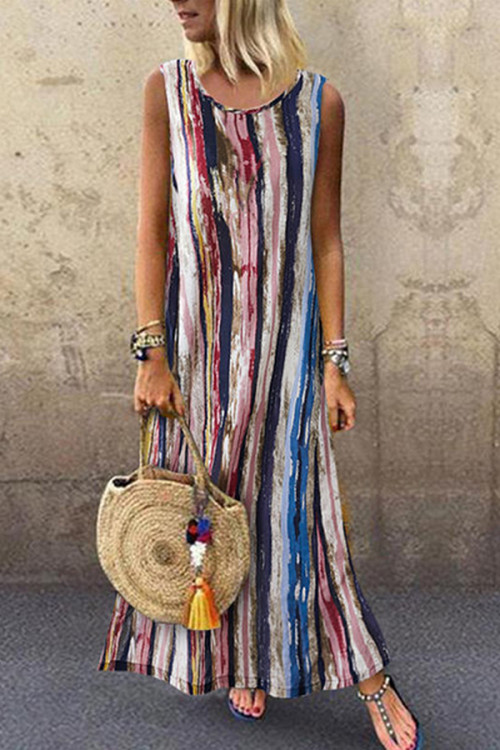 Printed Round Neck Tank Dress