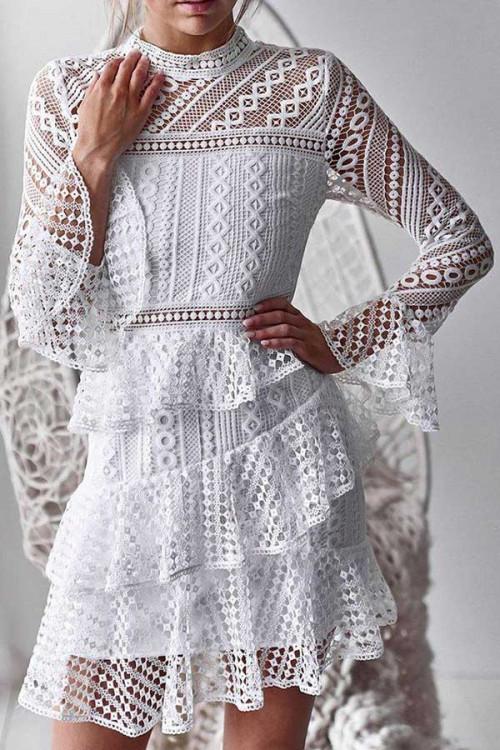 Solid Layered Ruffle Trim Lace Dress