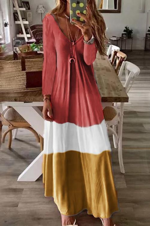 Color-block V Neck Maxi Dress