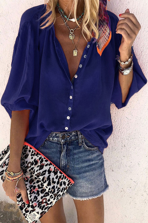 Casual Solid Buttons Blouse