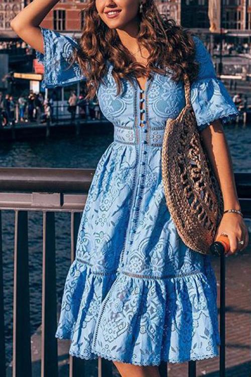 V-neck Button Through Lace Dress