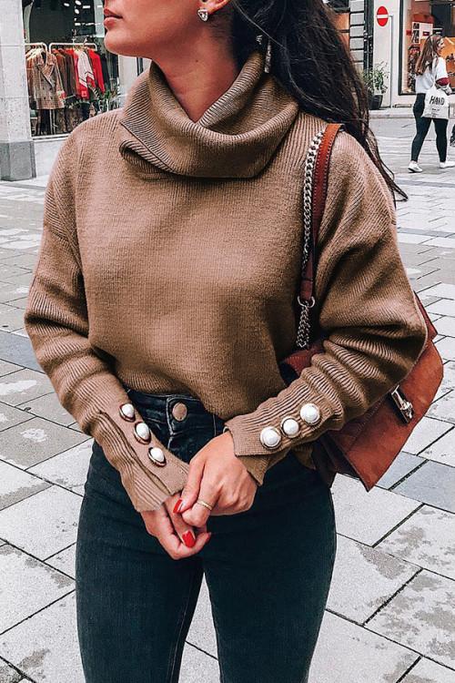 High Collar Knit Sweater