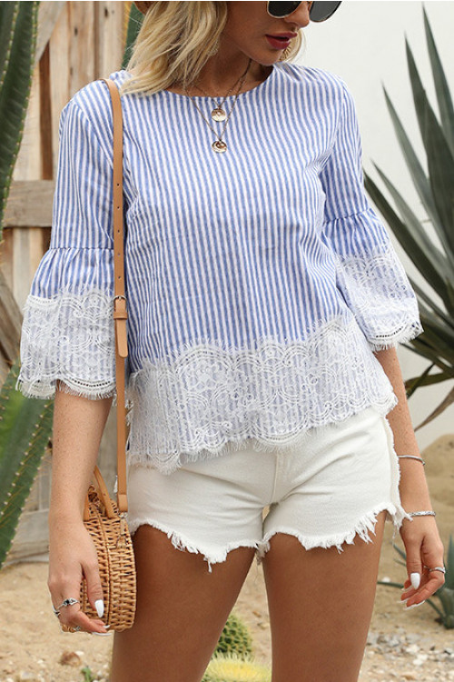 Casual Scoop Striped T-shirt