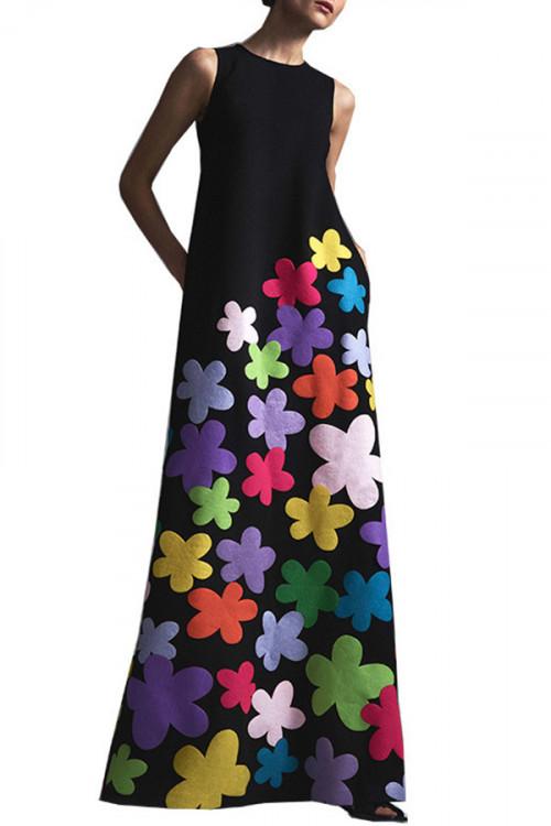 Sleeveless Scoop Print Dress