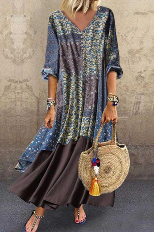 Cotton Printed Patchwork Dress