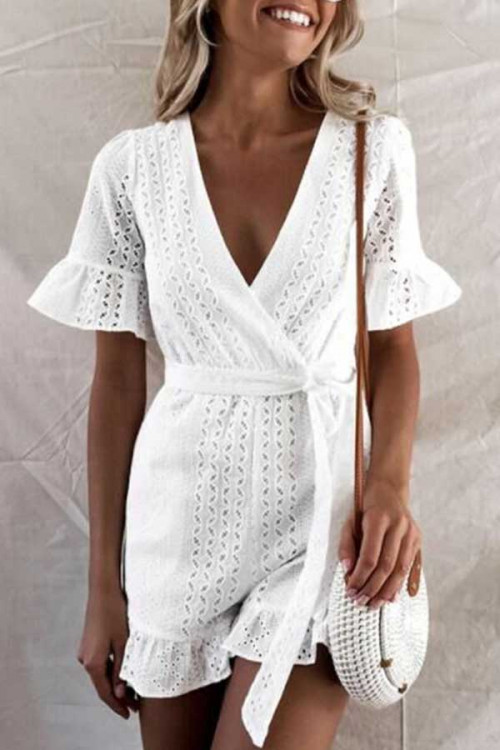 White Petal Sleeve Lace-up Romper