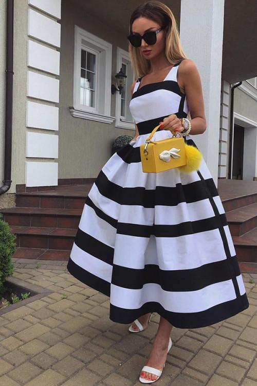 Sleeveless Striped Swing Dress