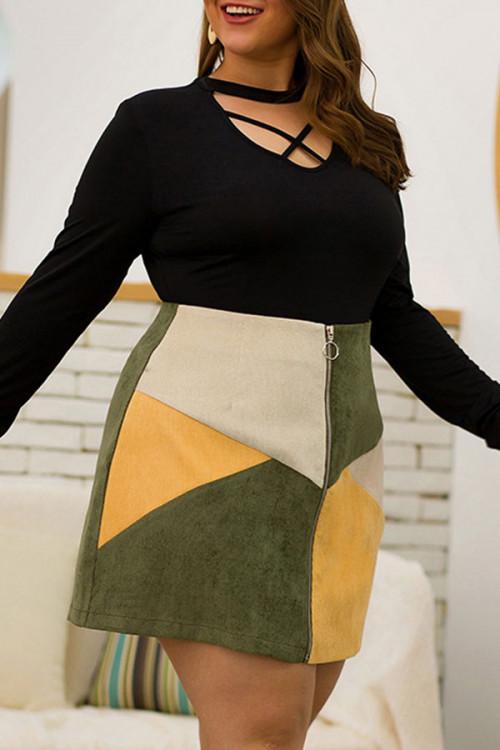 Plus Size Tricolor Zipper Skirt