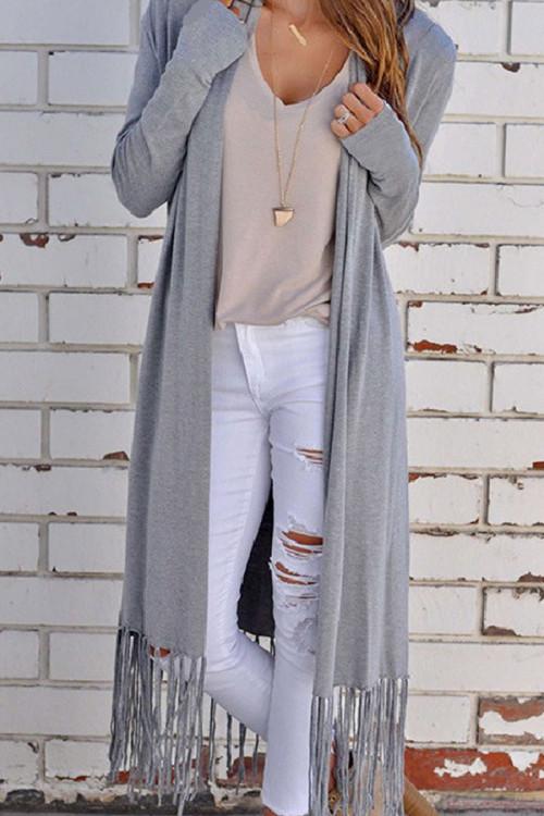 Tassel   Solid  Long  Cardigan