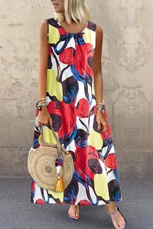 Printed Sleeveless Round Collar Dress