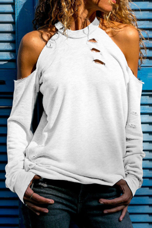 Solid Cut Out Halter T-shirt