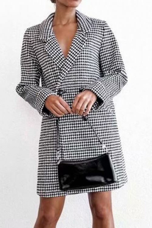 Plaid Buttoned Lapel Coat