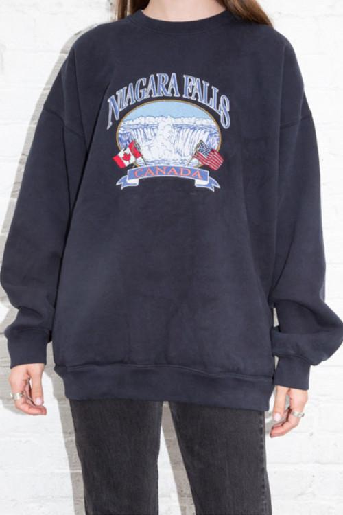 Loose Print Scoop Sweatshirt
