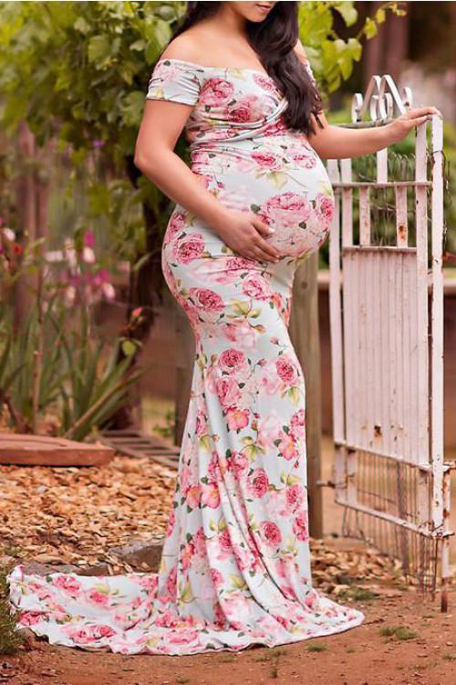 Cross V-neck Printed Maternity Dress