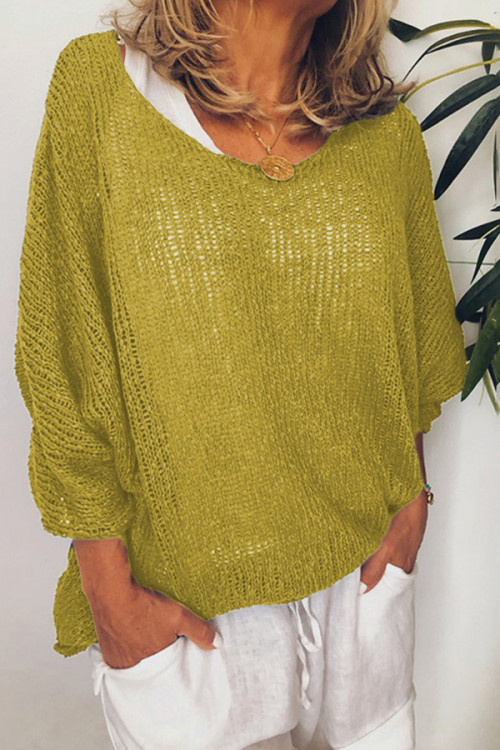 3/4 Sleeves Solid Sweater