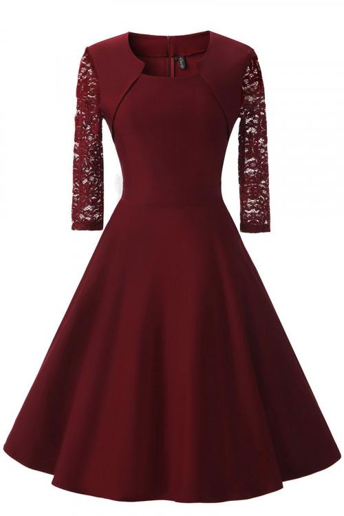 Lace Patchwork A-line Dress