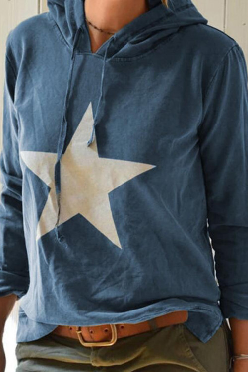 Star Print Drawstring Hoodie