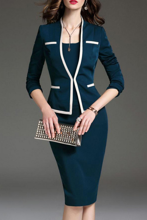 Long Sleeves Scoop Business Suit
