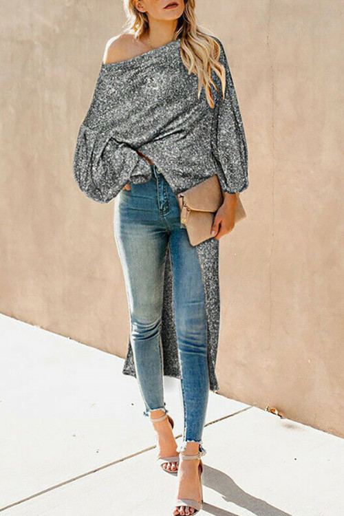 Solid One Shoulder Sweater