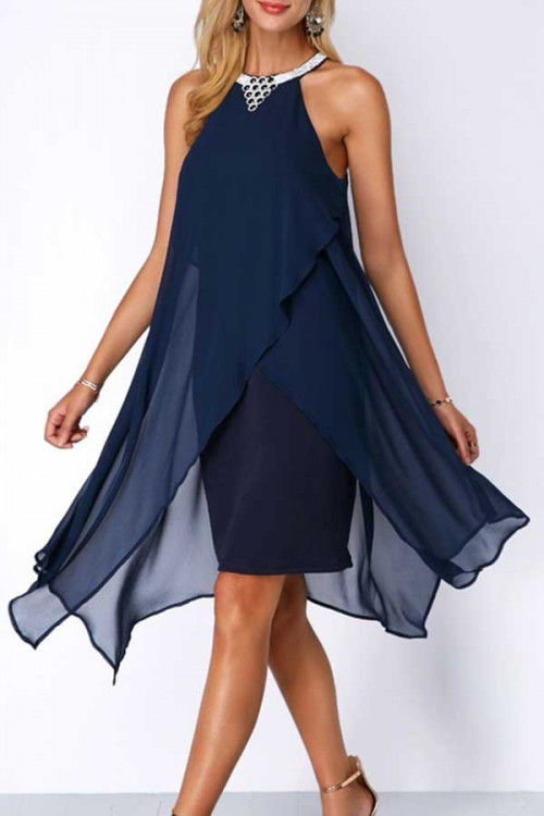 Halter Sleeveless Chiffon Midi Dress