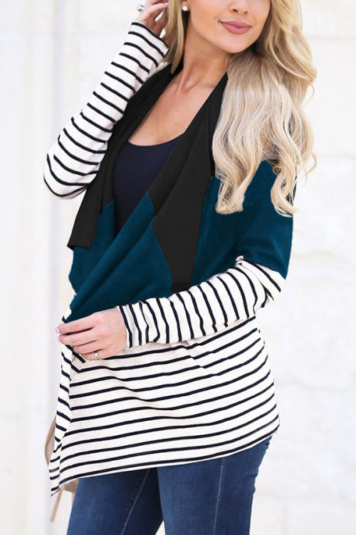 Striped Irregular Cardigan