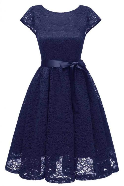 Scoop Lace Belt Homecoming Dress
