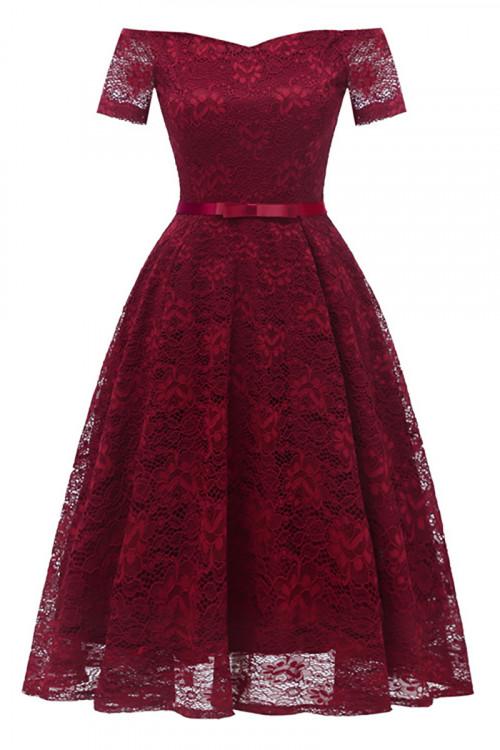 Off-the-shoulder Lace Belted Dress