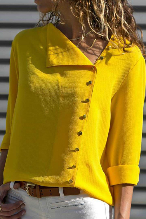 Solid Collar Buttons Blouse