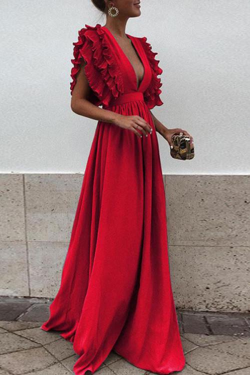 Ruffled Solid V-neck Wrap Dress