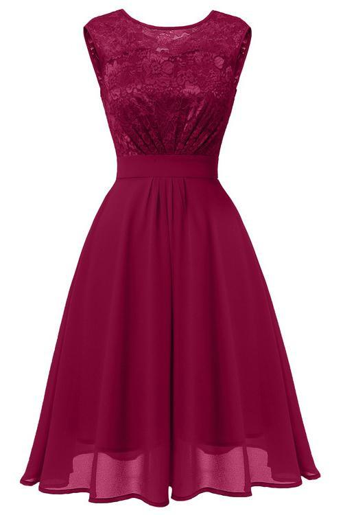 Sleeveless Lace Homecoming Dress