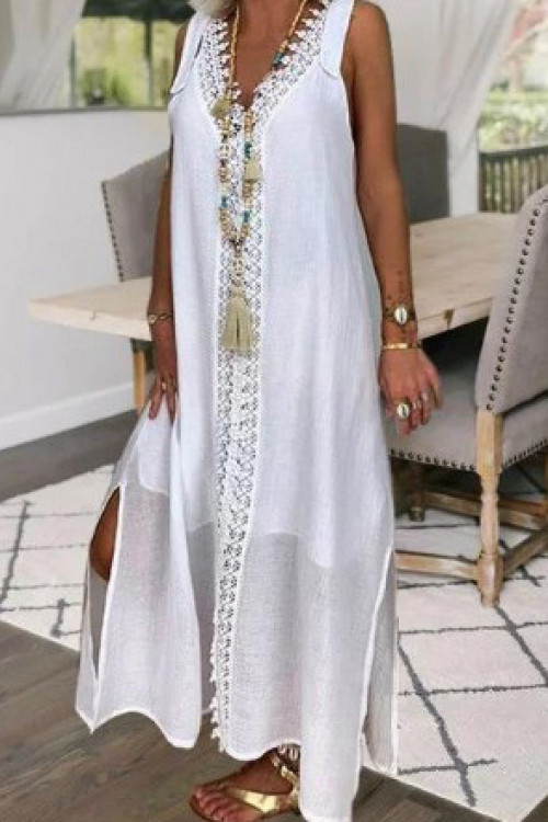Lace Sleeveless Solid Dress