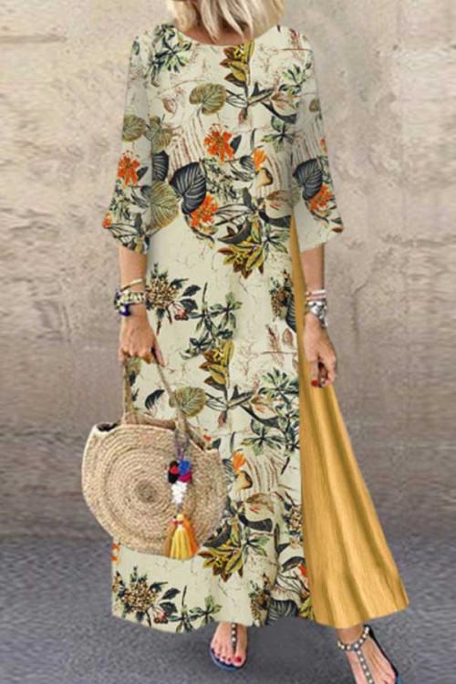 Floral Crew-neck Patchwork Dress