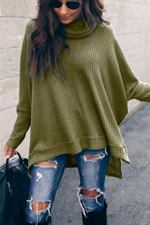 High Collar Asymmetrical Sweater