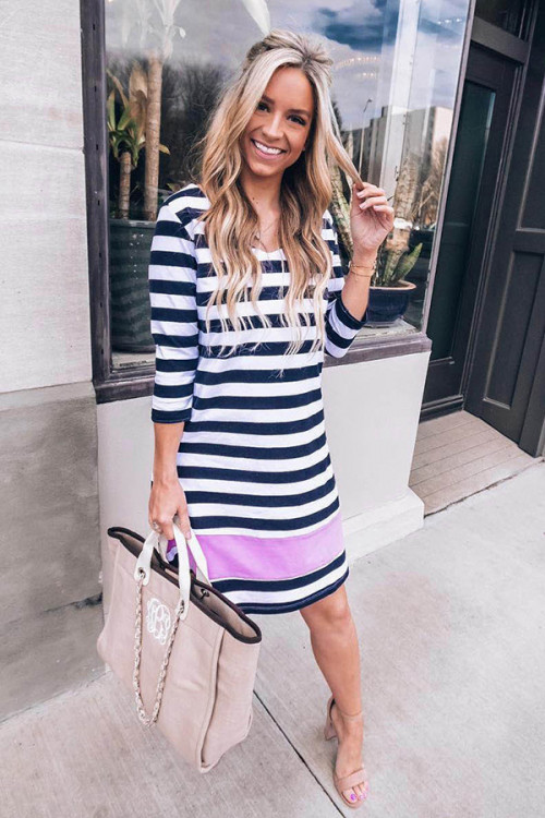Round Neck Striped Dress