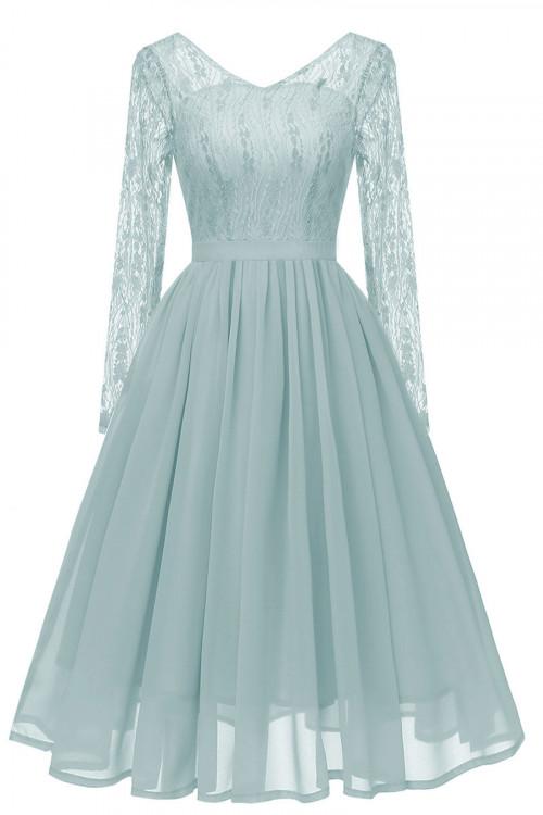 V-neck Lace A-line Chiffon Dress