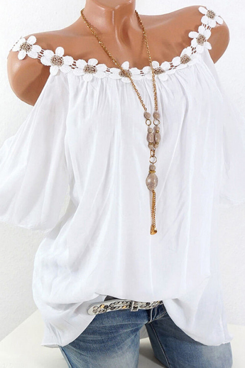 Appliques Solid Ruffled Blouse