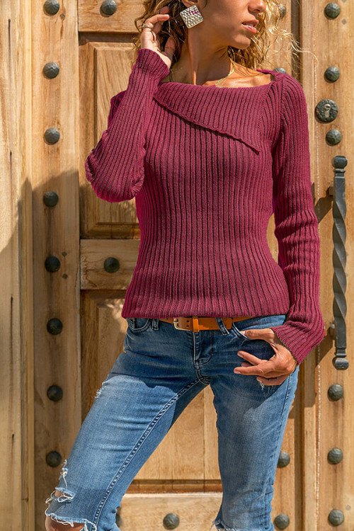 Asymmetric Neck Casual Sweater