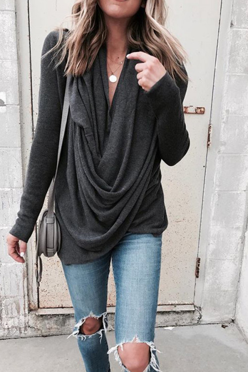 Asymmetrical Pile Neck T-shirt
