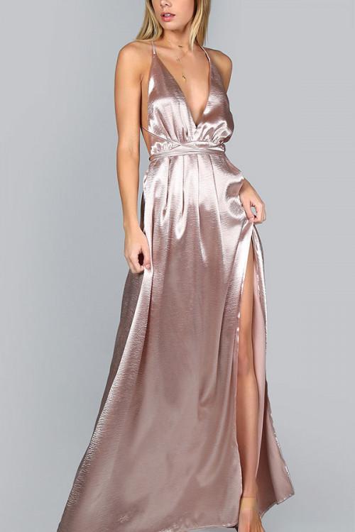 Backless Solid Split Dress